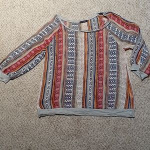 WEST KEI small sheer aztec blouse, $48.00